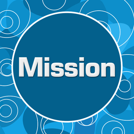 accomplish: Mission Blue Abstract Circular Background