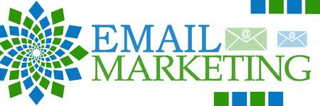 emarketing: Email Marketing Green Blue Squares Horizontal Stock Photo