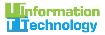 infotech: Information Technology Green Blue Abstract Shapes Stock Photo