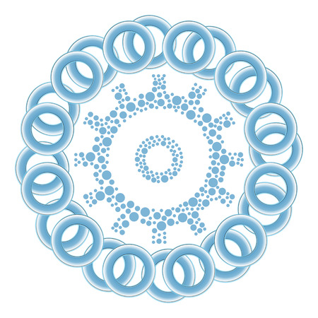 dotted: Gear Dotted Blue Rings Circular Stock Photo