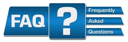 FAQ Blue Rounded Squares Stripes Horizontal Standard-Bild