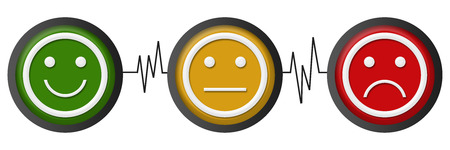 Smile Neutral Sad Faces Heartbeats Stock Photo