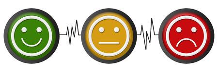 Sourire Neutral Sad Faces Heartbeats Banque d'images - 60732659
