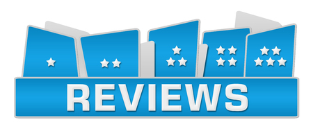 reviews: Reviews Stars On Top Blue Stock Photo