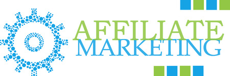 selling service: Affiliate Marketing Dotted Gear Green Blue Horizontal Stock Photo
