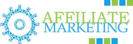 affiliate marketing: Affiliate Marketing Dotted Gear Green Blue Horizontal Stock Photo
