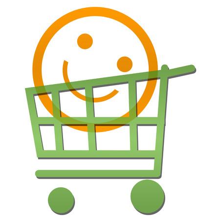 smile face: Smile Face Inside Shopping Cart