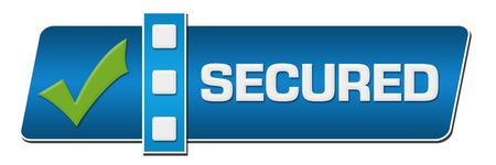 secured: Secured Blue Separator Horizontal Stock Photo