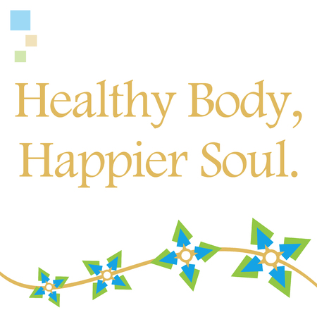 happier: Healthy Body Happier Soul Blue Floral Wave Stock Photo