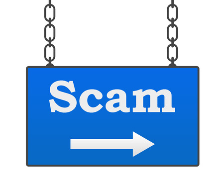 deceiving: Scam Blue Hanging Signboard Stock Photo