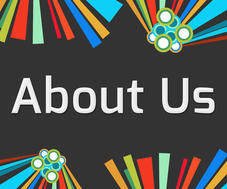 about us: About Us Text Dark Colorful Elements Stock Photo