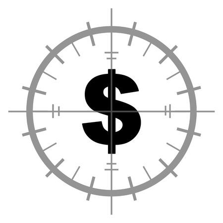 Symbole du dollar Inside Target Sign Banque d'images - 63255771