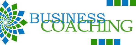 competences: Business Coaching Green Blue Squares Horizontal Stock Photo