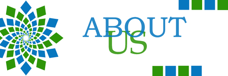 about us: About Us Green Blue Elements Horizontal Stock Photo