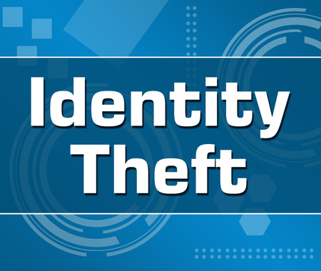 web scam: Identity Theft Abstract Blue Background Square