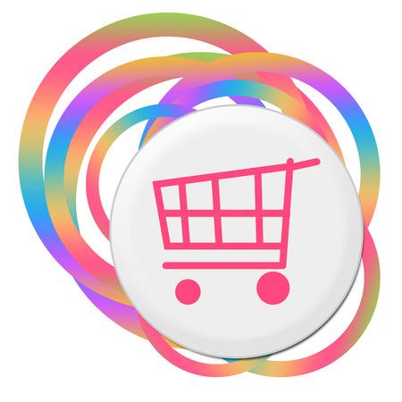 Shopping Cart Random Colorful Rings Stock Photo
