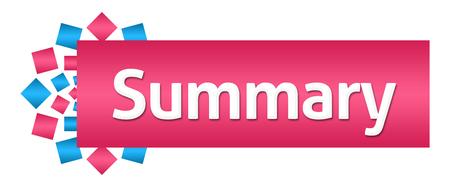 Summary Pink Blue Squares Circular Horizontal