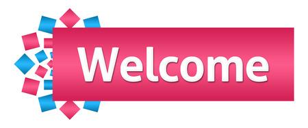 Welcome Pink Blue Squares Circular Horizontal