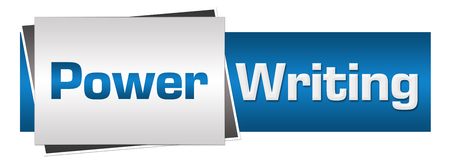 fluency: Power Writing Blue Grey Horizontal Stock Photo
