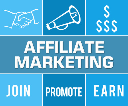 affiliate: Affiliate Marketing Blue Grid Stock Photo