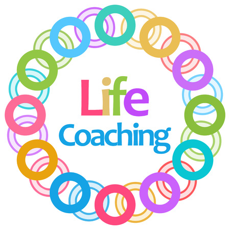 Life Coaching Colorful Circular Background Banco de Imagens