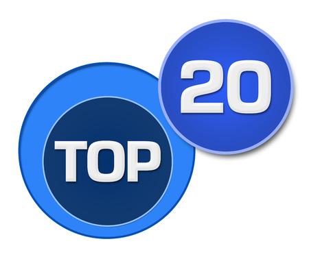 twenty: Top Twenty Blue Circles Stock Photo