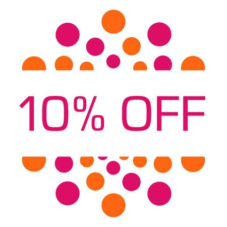 Ten Percent Off Pink Orange Dots Circular Reklamní fotografie