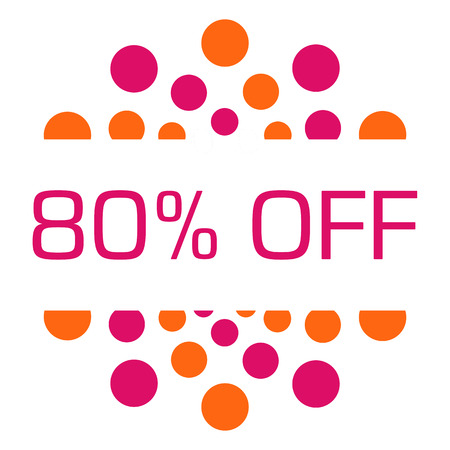 Eighty Percent Off Pink Orange Dots Circular Stock Photo