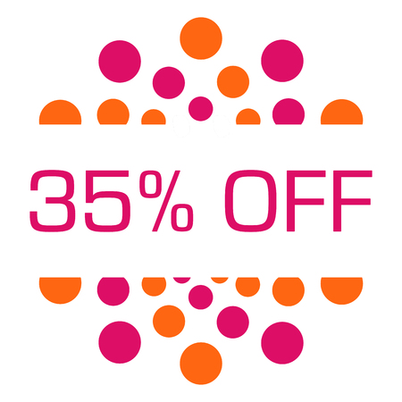 thirty five: Thirty Five Percent Off Pink Orange Dots Circular