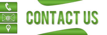 contact us: Contact Us Green Banner Stock Photo
