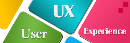 user experience: UX - User Experience Colorful Rounded Squares Stock Photo