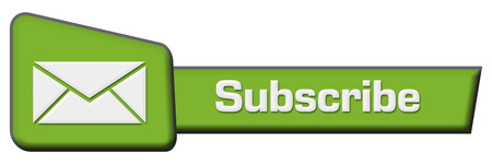 joining services: Subscribe Green Triangle Horizontal Stock Photo