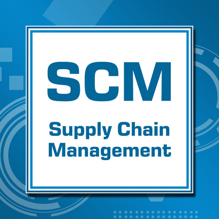 scm: SCM Technical Blue White Square Stock Photo