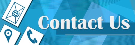 Contact Us Random Shapes Blue Background
