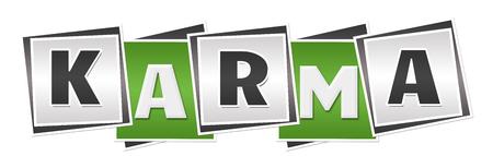 karma: Karma Green Grey Blocks Stock Photo