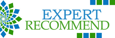 recommend: Expert Recommend Green Blue Horizontal Stock Photo