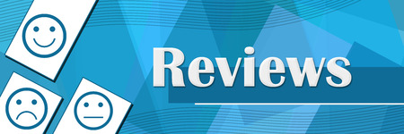 reviews: Reviews Random Shapes Blue Background Stock Photo
