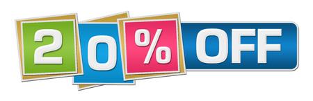 twenty: Twenty Percent Off Colorful Squares Bar Stock Photo
