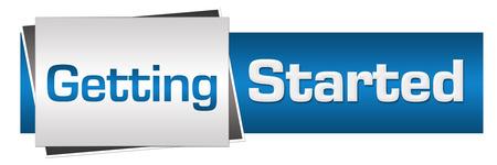 Erste Schritte Blau Grau Horizontal Standard-Bild