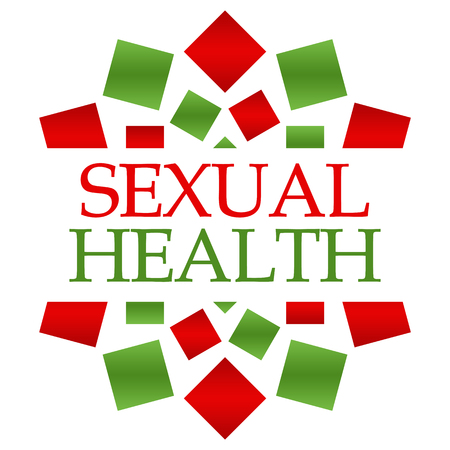 salud sexual: Sexual Health Red Green Circular Background