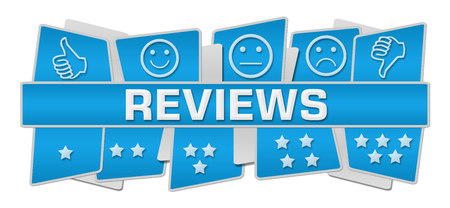 reviews: Reviews Blue Up Down Squares Stock Photo