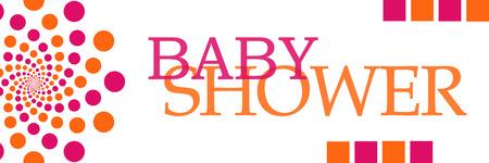 playfulness: Baby Shower Pink Orange Dots Horizontal Stock Photo