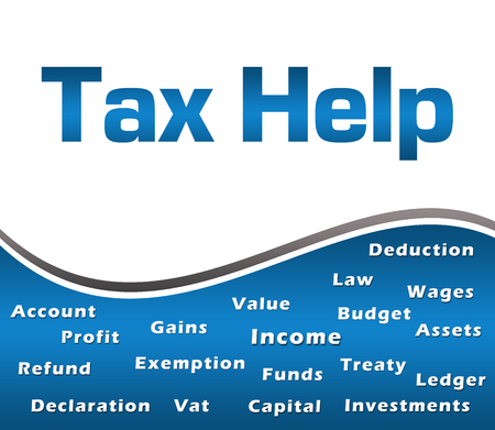 Tax Help Wordcloud Blue Square