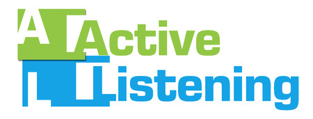 escucha activa: Escuchar activamente azul abstracta verde de las rayas Foto de archivo