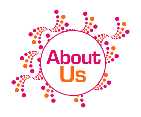 about us: About Us Pink Orange Abstract Dots Stock Photo