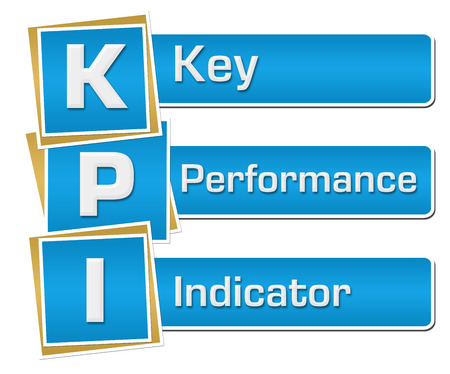 kpi: KPI - Key Performance Indicator Blue Squares Vertical