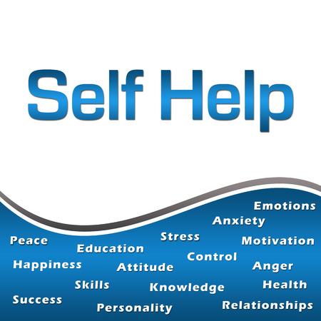 Self Help Wordcloud Blue Square