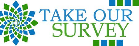 poll: Take Our Survey Green Blue Circular Stock Photo