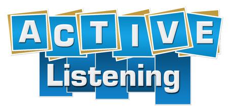 escucha activa: La escucha activa cuadrados azules de las rayas Foto de archivo