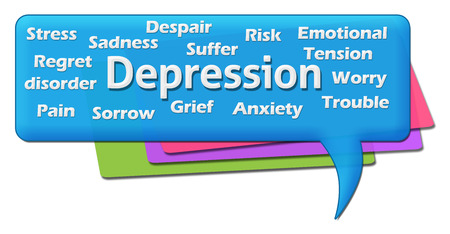tendencies: Depression Wordcloud Colorful Comment Symbol Stock Photo